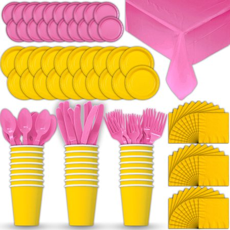 Paper Tableware Set for 24 - Yellow & Hot Pink - Dinner and Dessert Plates, Cups, Napkins, Cutlery (Spoons, Forks, Knives), and Tablecloths - Full Two-Tone Party Supplies Pack