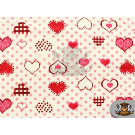 Cotton Flannel POLKA DOTS HEARTS RED Fabric / 45