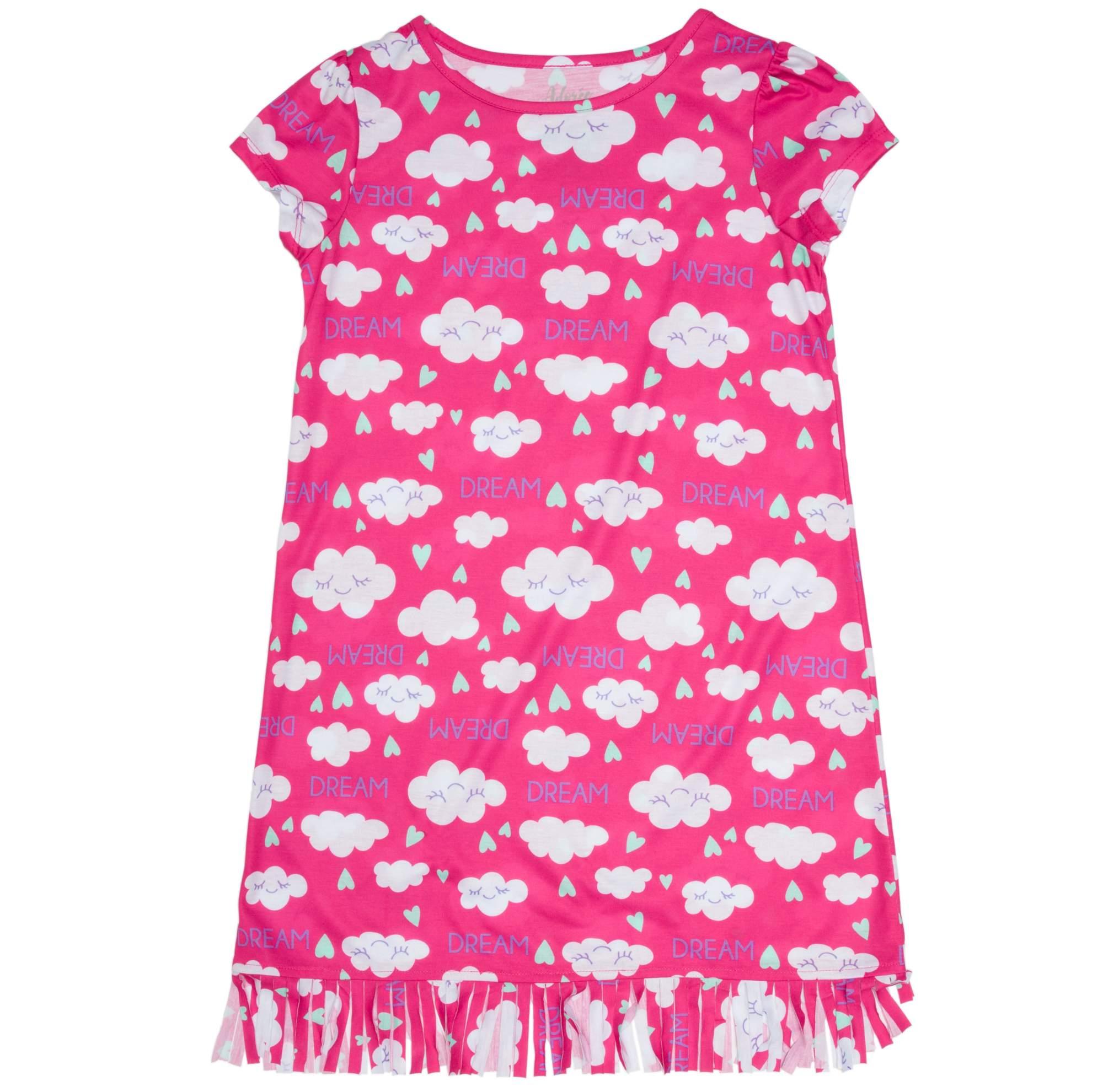 Image of Girl's Cloud Print Graphic Sleep Shirt with Fringe