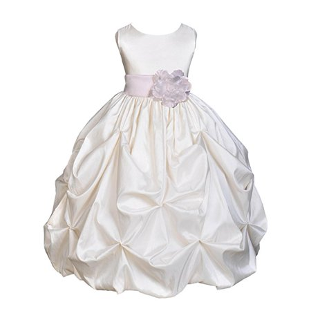 - Ekidsbridal Ivory Satin Taffeta Pick-Up Bubble Flower Girl Dress Birthday Girl Dress Princess Dresses Ballroom Gown Special Occasion Dresses Easter Summer Dresses Pageant Gown Daily Dresses 301S