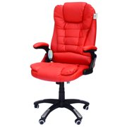 HomCom High Back Faux Leather Adjustable Heated Executive Massage Office Chair - Bright Red