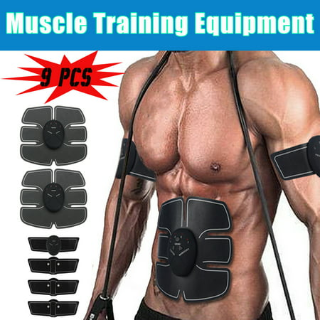 9Pcs EMS Muscle ABS Set Fit Training Gear Abdominal Body Exercise Shape Fitness Rechargeable Abdomen Fat Smart (Best Black Ass Tube)