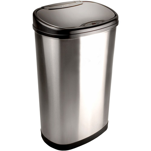 Nine Stars 13.2-Gallon Stainless Steel Oval Sensored Trash Can with Stainless Steel Lid by Nine Stars