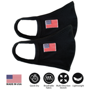 (Pack of 2) Fashion Washable Reusable Double Layers Cotton Face Covering Mask Adults American Flag - Made In USA