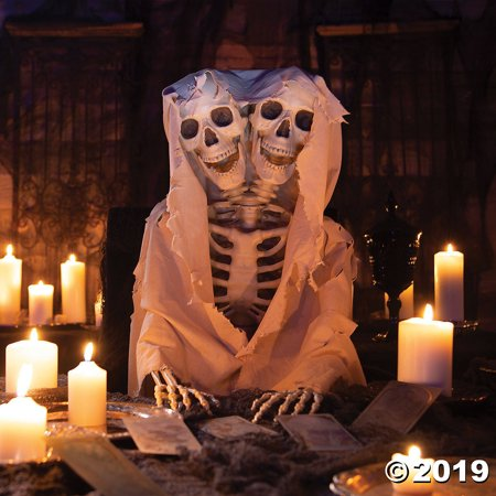 Styrofoam Head Halloween Decorations (Two-Headed Life-Size Posable Skeleton Halloween)