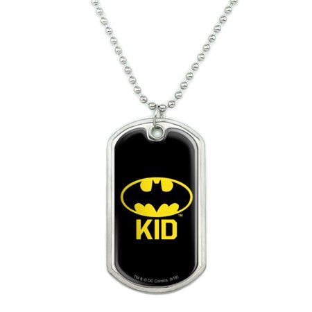 Batman Bat Kid Shield Logo Military Dog Tag Pendant Necklace with Chain