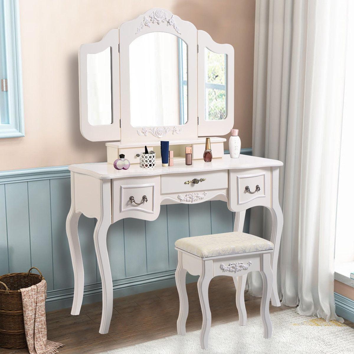 Click here to buy Costway Tri Folding Vintage White Vanity Makeup Dressing Table Set bathroom 5 Drawers &stool by Costway.