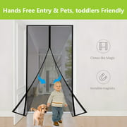 "Magnetic Screen Door - Heavy Duty Mesh & Super Magnet Fits Doors Up to 36""-82"""