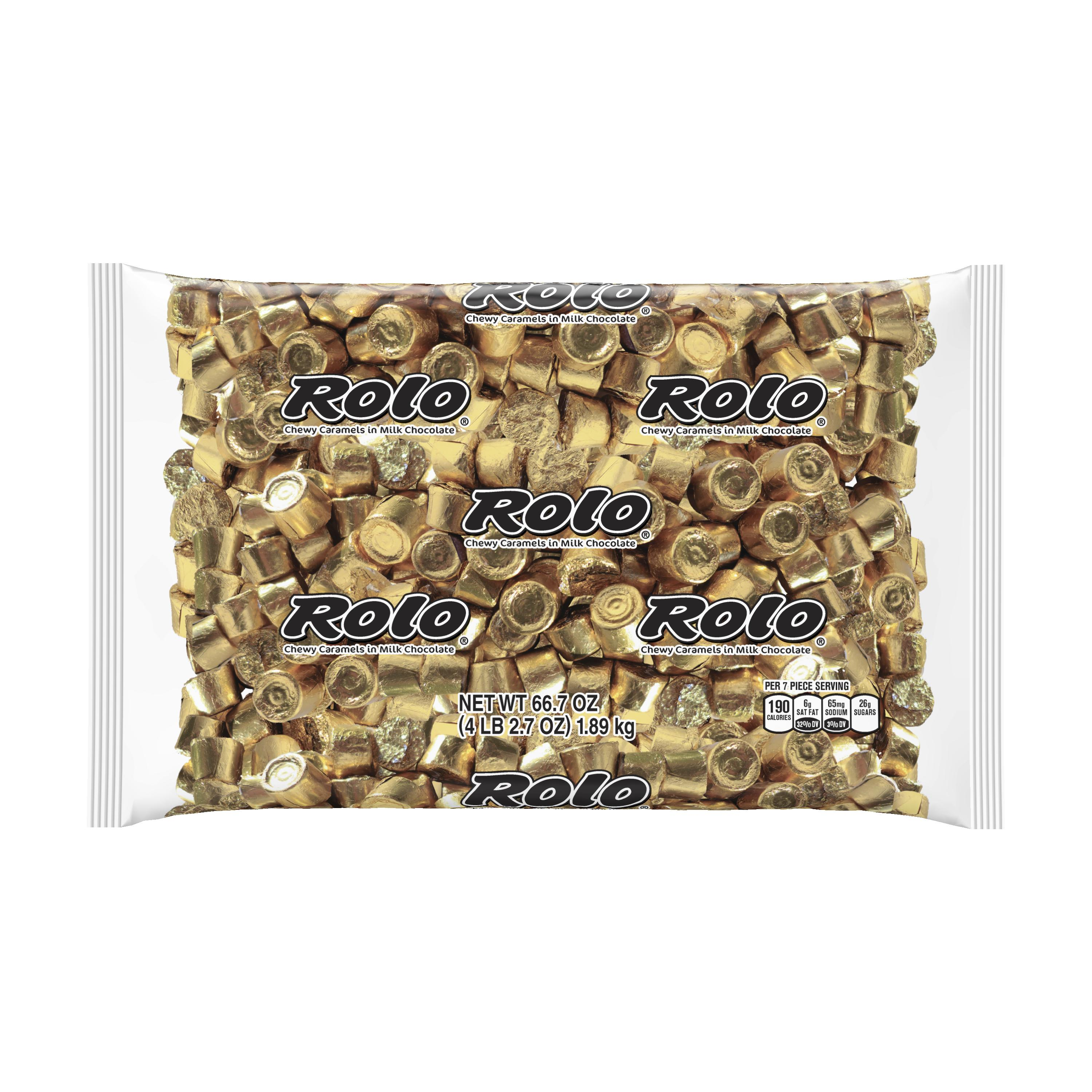 Rolo, Chewy Caramels Milk Chocolate Candy Gold Foil, 66.7 Oz.