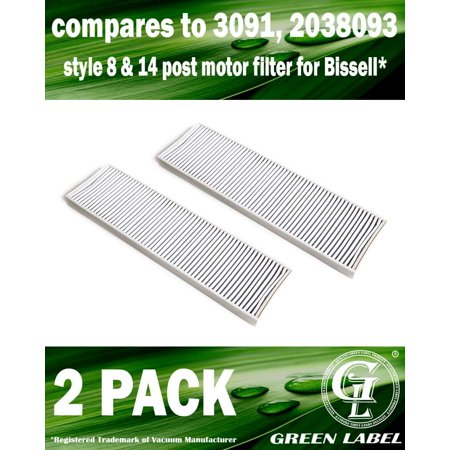 2 Pack For Bissell Style 8 and 14 HEPA Filter for Upright Vacuum Cleaners (compares to 3091, 2038093). Genuine Green Label Product.