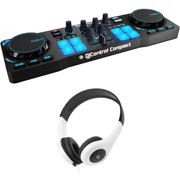 Hercules AMSDJCONTROLCOMPACT DJControl Compact Portable DJ Controller for Djuced Bundle with Bytech Stereo Headphones DJ Style Headset (White)
