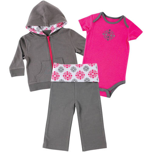 Yoga Sprout Newborn Baby Girls Hoodie, Pant & Bodysuit - Girl Medallion