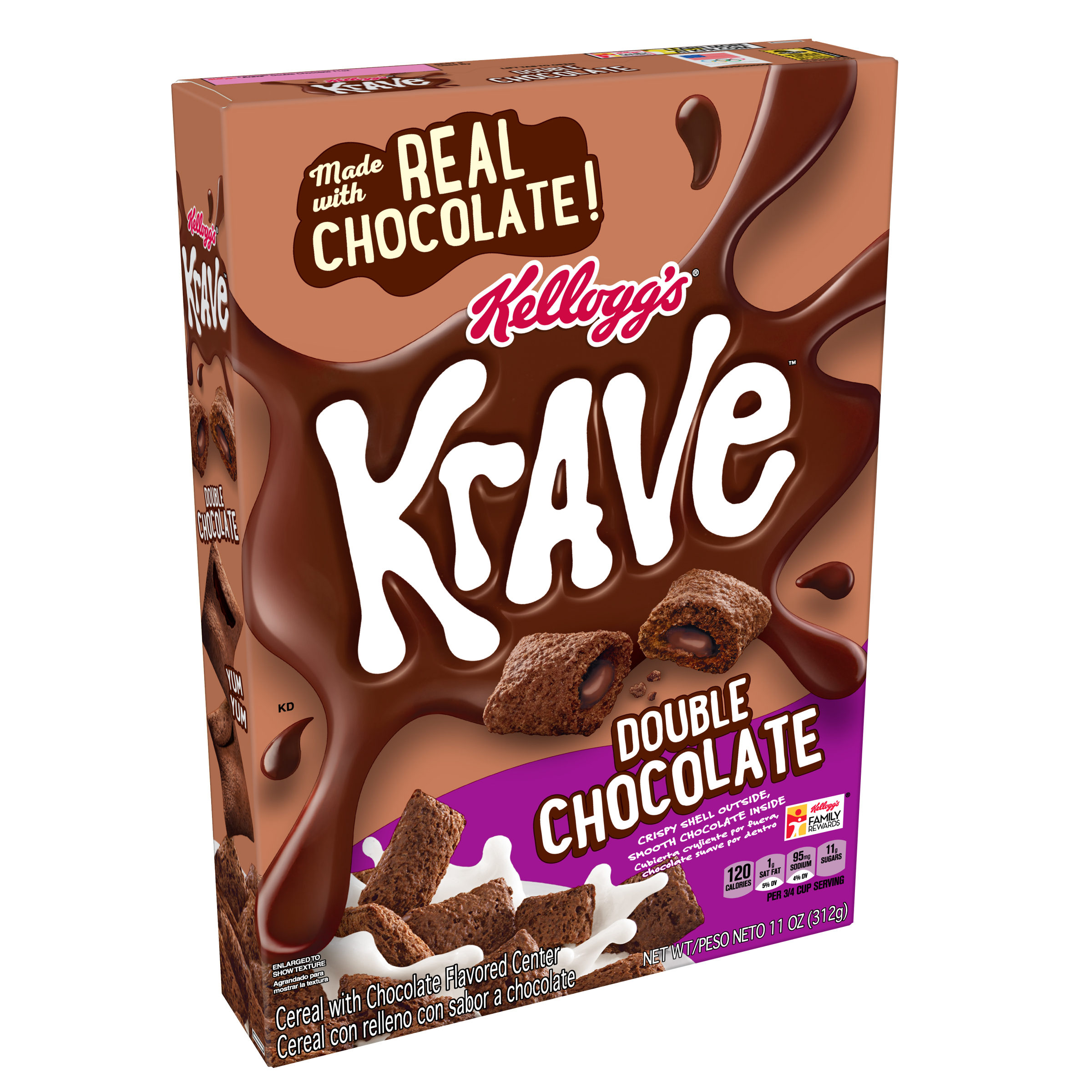 Kellogg's Krave Breakfast Cereal, Double Chocolate, 11 Oz