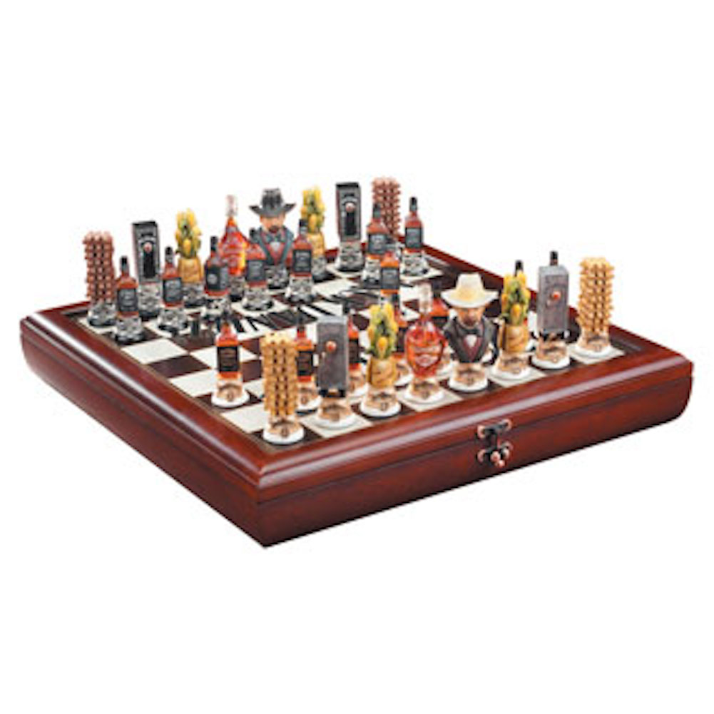 Jack Daniel's Chess Set Top Quality Wooden Board, Painted Resin Pieces JDR-390 by Ace Products
