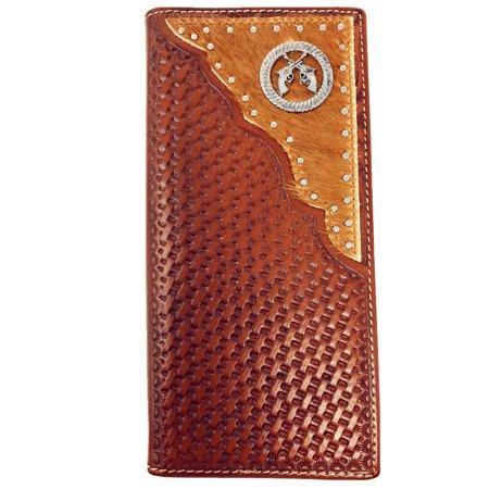 Premium Western Genuine Woven Leather Cow Fur Double Pistol Mens Bifold Wallet In Multi (Shooting Head Wallet)