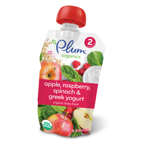 Plum Organics Stage 2 Apple, Raspberry, Spinach & Greek Yogurt, 3.5oz