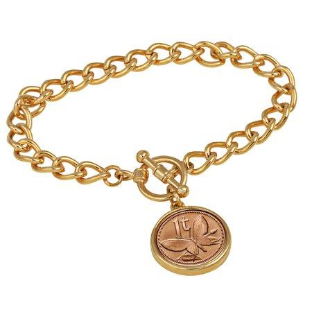 Butterfly Coin Goldtone Toggle Bracelet