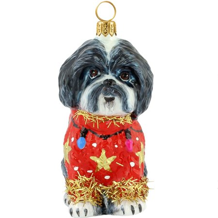 Black and White Shih Tzu Ugly Christmas Sweater Polish Glass Christmas Ornament