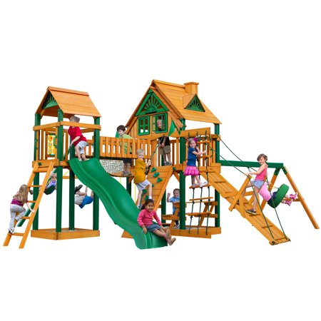 Pioneer Swing Set - Gorilla Playsets Pioneer Peak Treehouse Cedar Swing Set with Timber Shield Posts