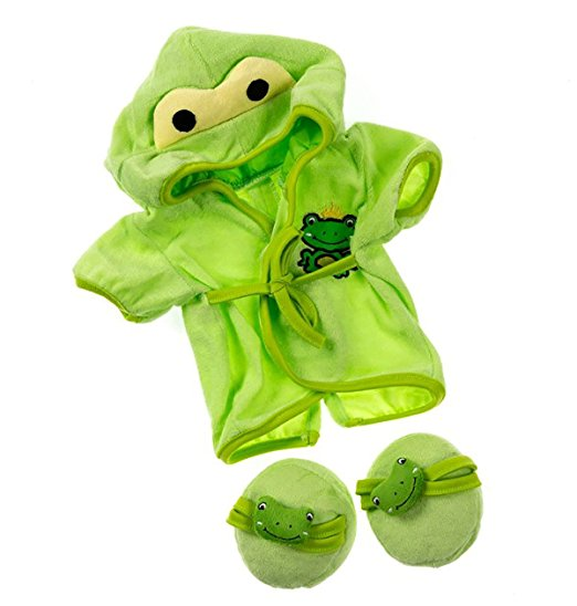"Frog Robe & Slippers Pajamas Outfit Teddy Bear Clothes Fit 14"" 18"" Build-a-bear,... by Bear Factory"