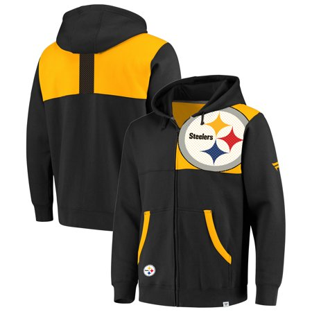 new product 3c3a9 29ed8 Pittsburgh Steelers NFL Pro Line by Fanatics Branded Iconic Bold Full-Zip  Hoodie - Black/Yellow - Walmart.com
