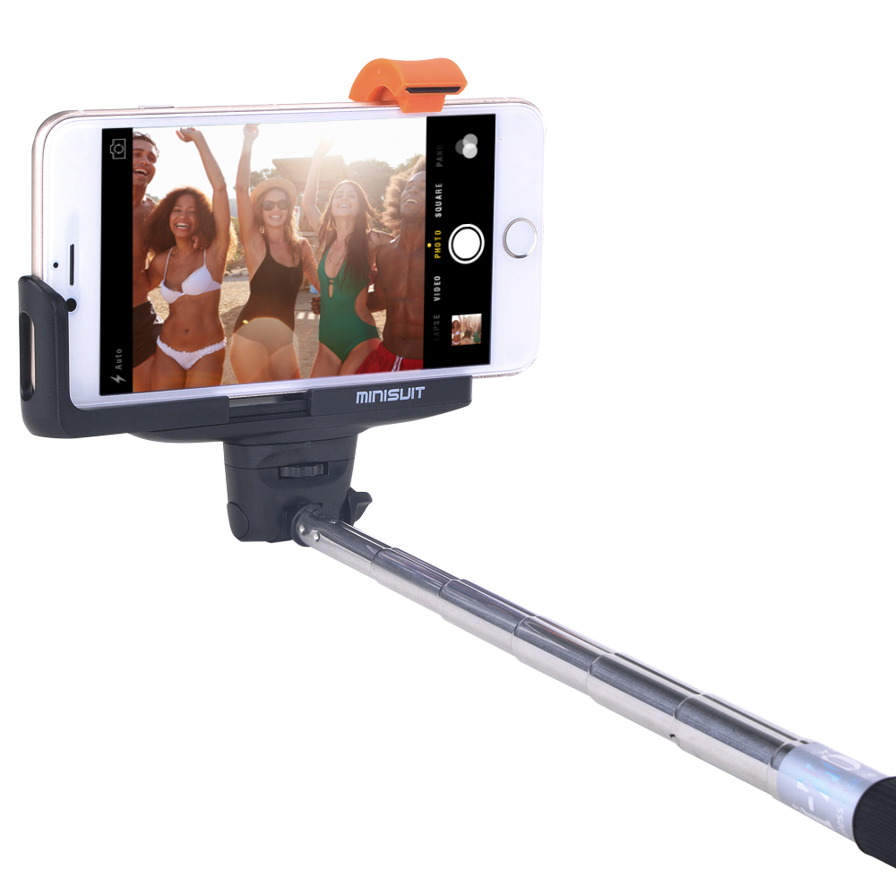 Minisuit Selfie Stick Pro Lite with Built-In Remote for Apple & Android - Black