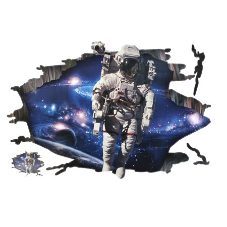 Room Background 3D Lifelike Outer Space Astronaut Pattern Wall Sticker Decal for Home Essential - Outer Space Classroom Decorations