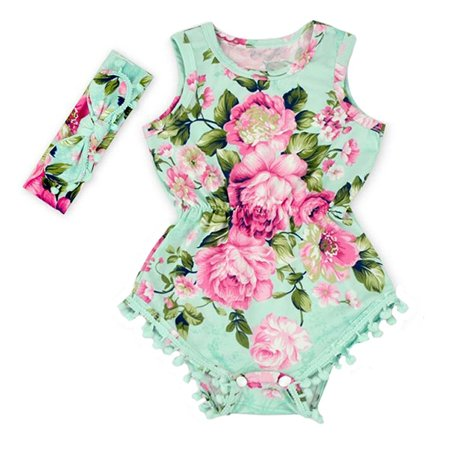 60864867dd60 Hollyhorse - Hollyhorse Hot Pink Floral Flower Pom Rompers For Baby ...