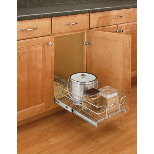 "Rev-A-Shelf 5WB1-1222 5WB Series 12"" Wide by 22"" Deep Pull Out Base Cabinet Wire Basket Organizer"