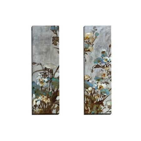 Portfolio Canvas Decor Floral in Silver I by Citrine 2 Piece Painting Print on Wrapped Canvas Set