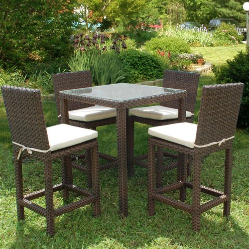 International Home Miami Atlantic 5 Piece Bar Height Dining Set with Cushions