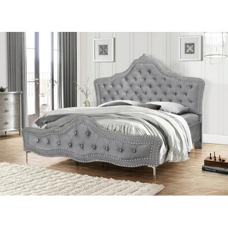 Best Quality Furniture Upholstered Platform Bed Tufted Style & Nailhead Trim ()