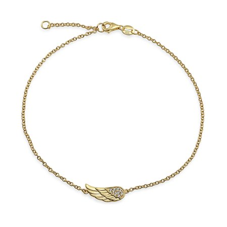 CZ Angel Wing Feather Anklet For Teen Ankle Bracelet For Women Rose Gold Plate Sterling Silver 9-10 Inch Extender