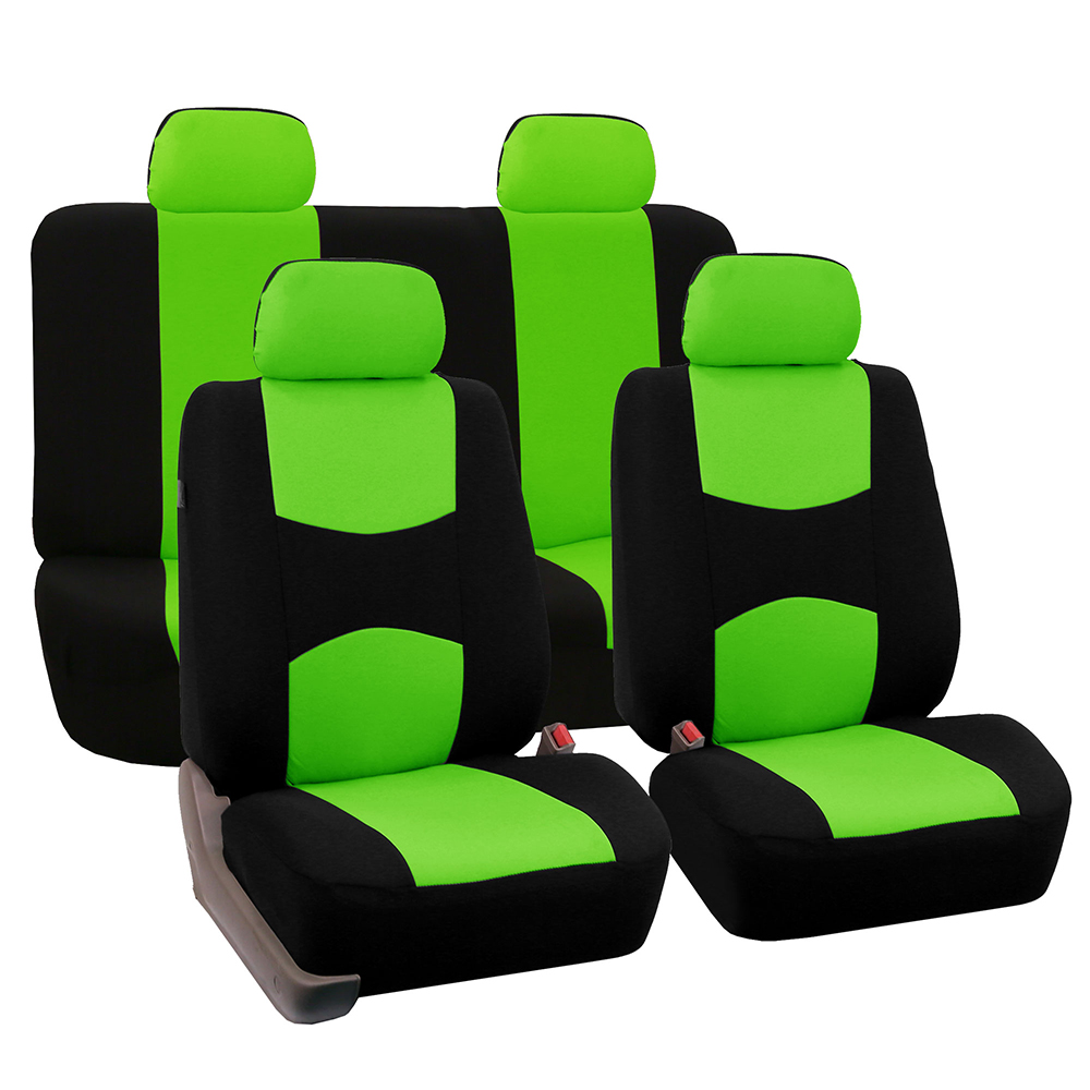 FH Group Universal Flat Cloth Fabric Full Set Car Seat Cover, Green and Black