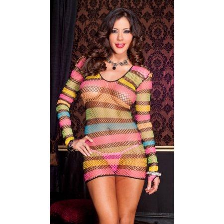 MUSIC LEGS Women's Long Sleeved Multi Colored Diamond Net Mini Dress, Rainbow, One (1 Dress Net)