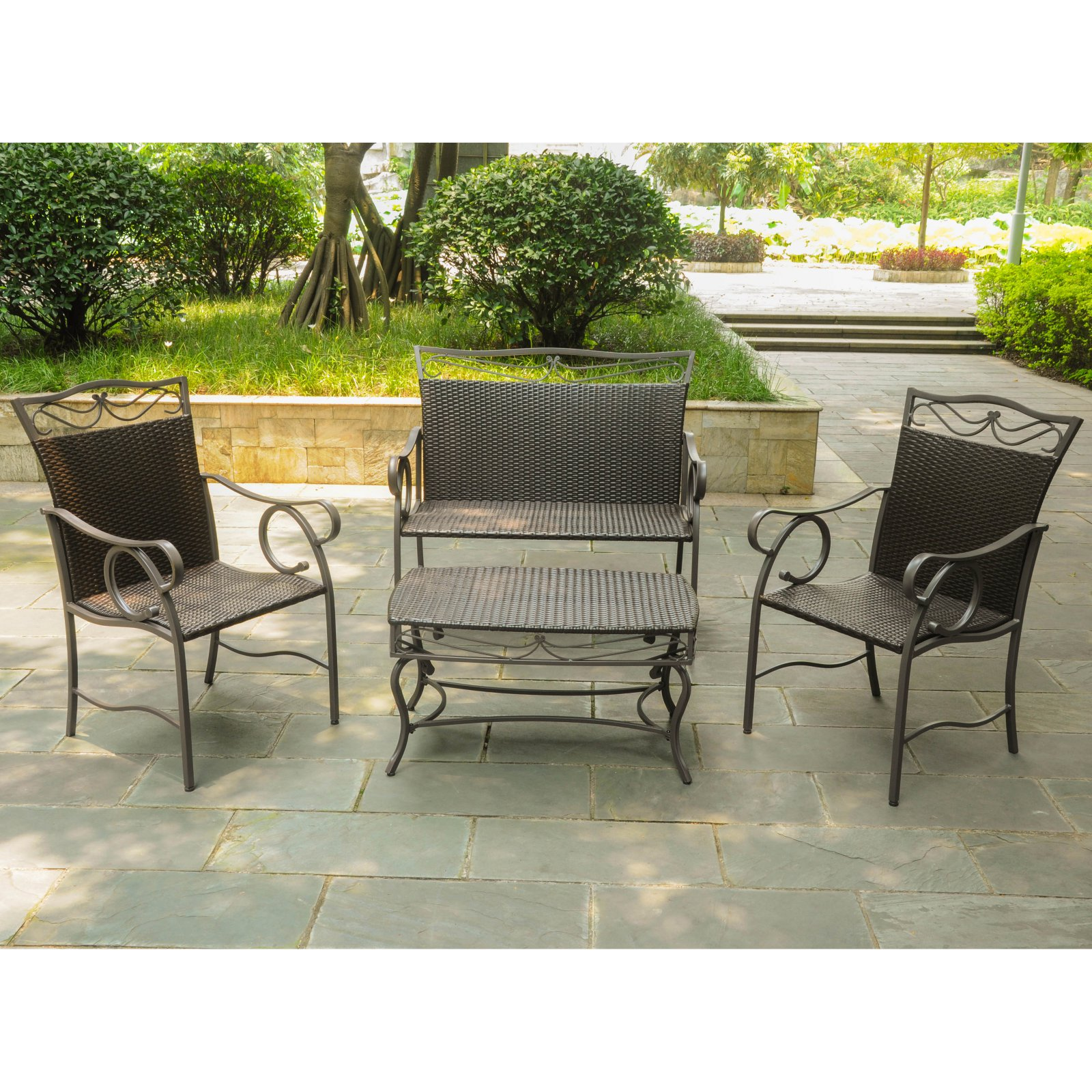 Delicieux International Caravan Valencia All Weather 4 Pc. Wicker Patio Settee  Conversation Set   Seats
