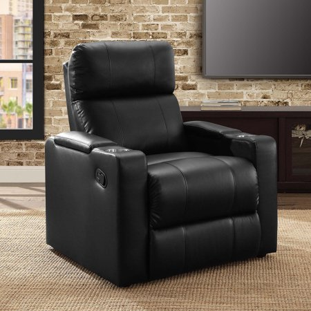 Mainstays Home Theater Recliner with In-Arm Storage, Reclining Chair with PU Leather Upholstery, Black ()