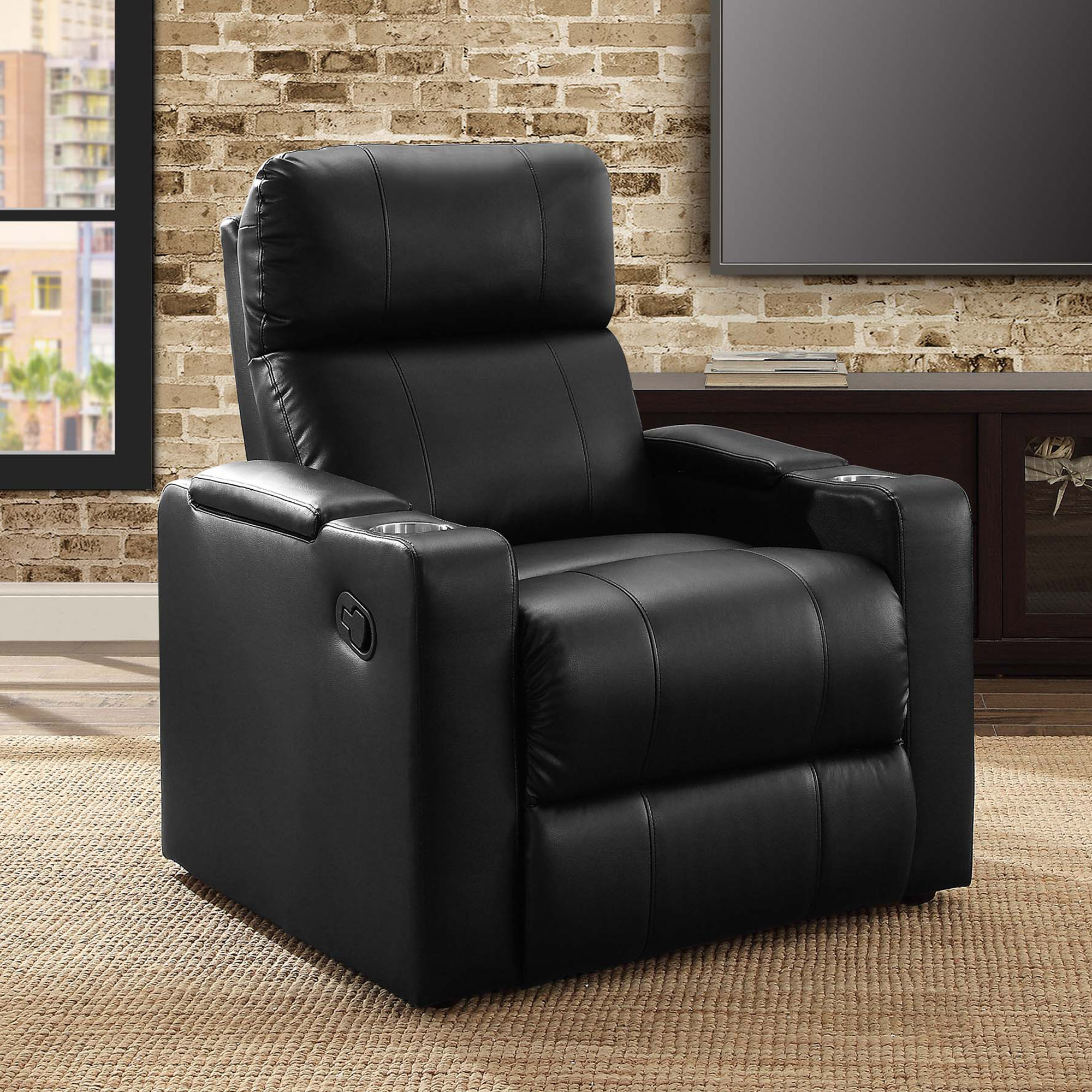 Mainstays Home Theater Recliner With In Arm Storage, Reclining Chair With  PU Leather Upholstery