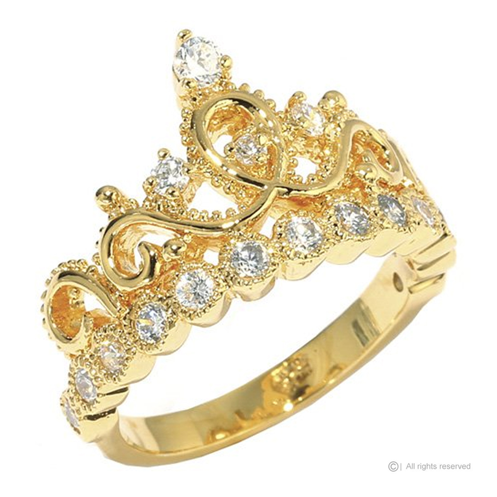 Guliette Verona Sterling Silver Princess Crown Ring (Yellow Gold Plated)