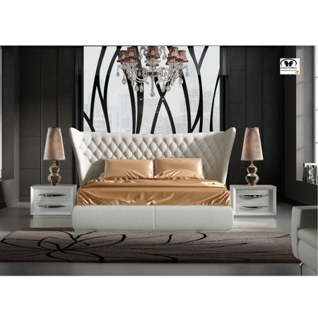 Queen Bedroom Set 3Pcs Eco-Leather Modern Made in Spain ESF Miami Carmen White ()