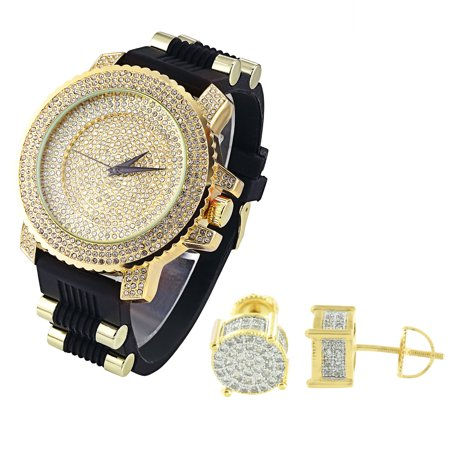 Iced Out Techno Pave Watch Lab Created Cubic Zirconias Analog Bullet Design Screw Back (Analog Design)