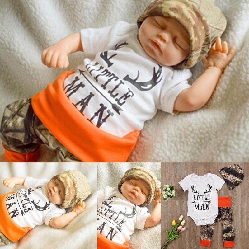 3Pcs Newborn Baby Boys Tops Romper Camouflage Long Pants Deer Outfit Clothes Set
