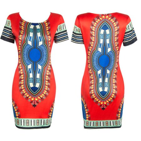 DZT1968Women Traditional African Print Dashiki Bodycon Sexy Short Sleeve Dress