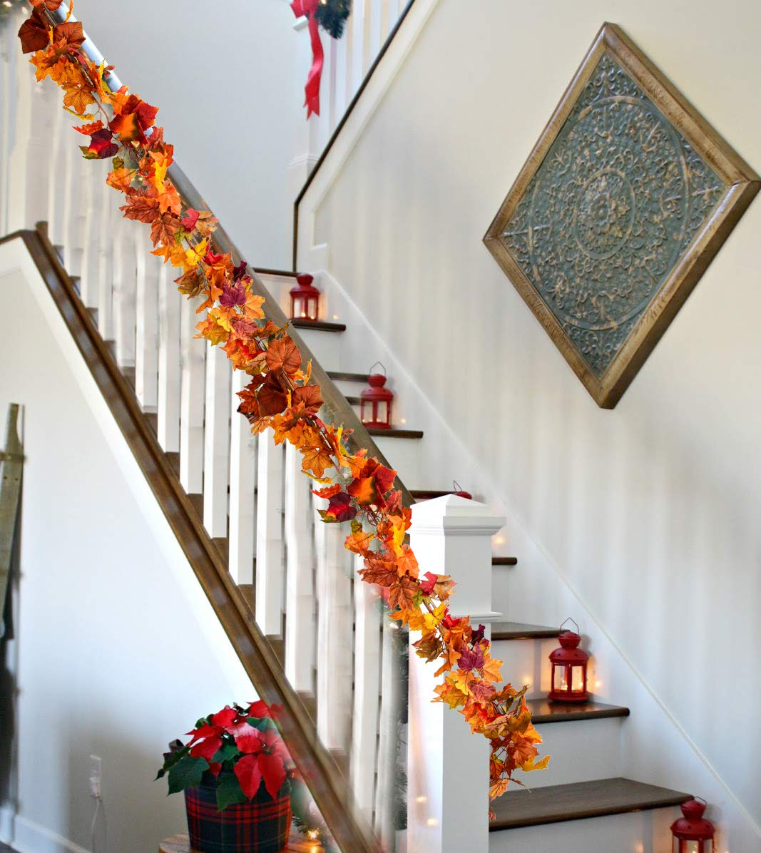 2.3M//7.5Ft//Piece Hanging Vine Garland Artificial Autumn Foliage Garland Thanksgiving Decor for Home Wedding Fireplace Party Christmas Ucradle 5 Pack Artificial Autumn Fall Maple Leaf Garland