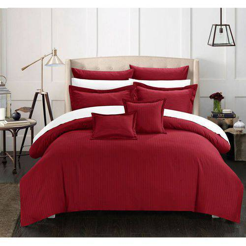 Chic Home 5-Piece Keynes Down Alternative Jacquard Striped Comforter Set