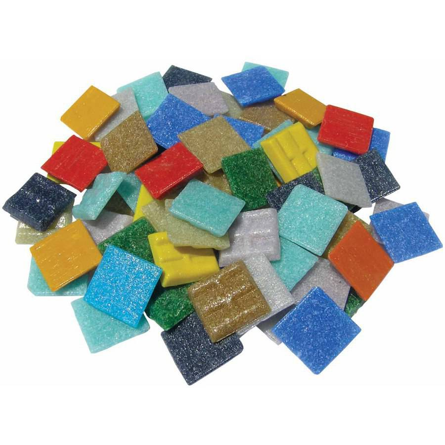 "Mosaic Mercantile Glass Authentic Square Mosaic Tile, 0.75"" x 0.75"", Assorted Colors, 3 lb Bag"