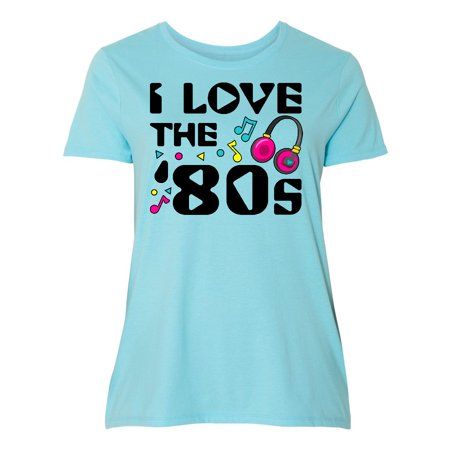 Inktastic I Love The 80S Musical Notes Womens Plus Size T Shirt 80S Eighties My