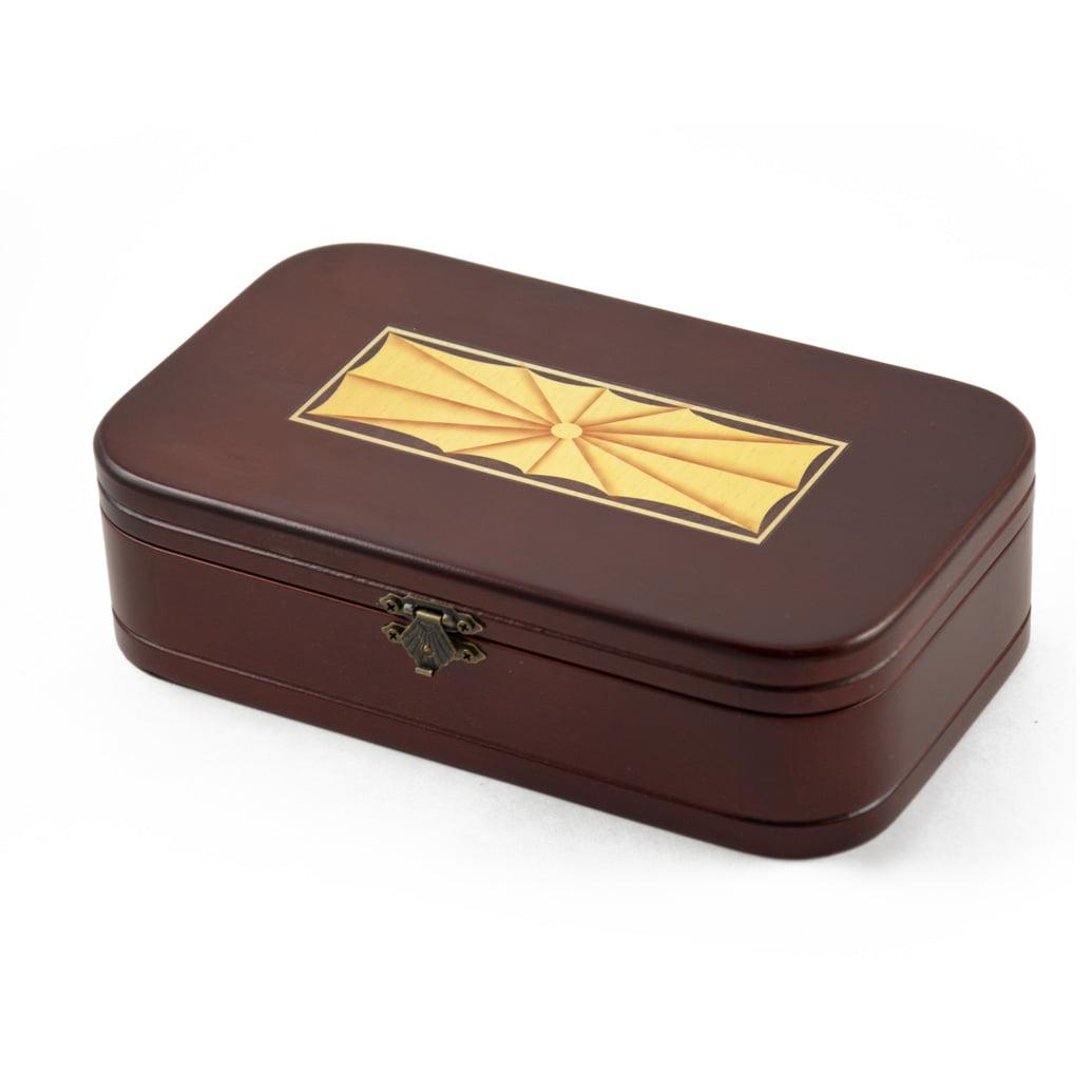 Old World Theme Wooden Keepsake Jewelry Box with Mirror