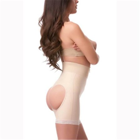 Isavela Be03 Open Buttocks Girdle Mid Thigh With Front Zipper  44  4Xl   Black