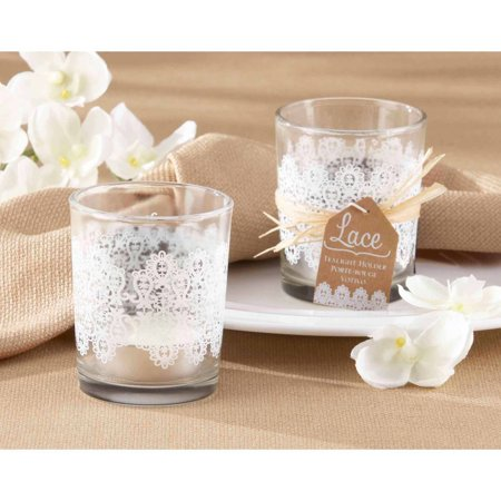 Lace Print Glass Tealight Holder, Set of 4